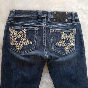 Miss Me Rhinestone Star Dark Denim Jeans Size 26